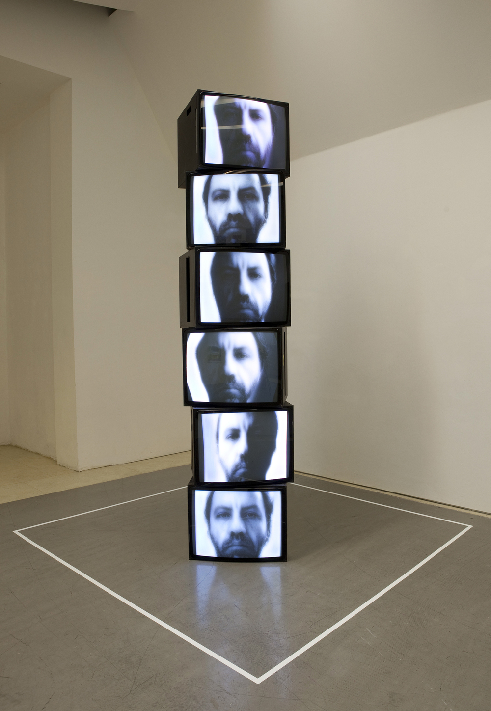 I AM MY PHOTOGRAPH, (2004/5),  time offset continuous video loops, CRT monitors, stereo audio , WICC IMB WICC, St James Cavalier Centre for Creativity, Valletta, Malta, 2012