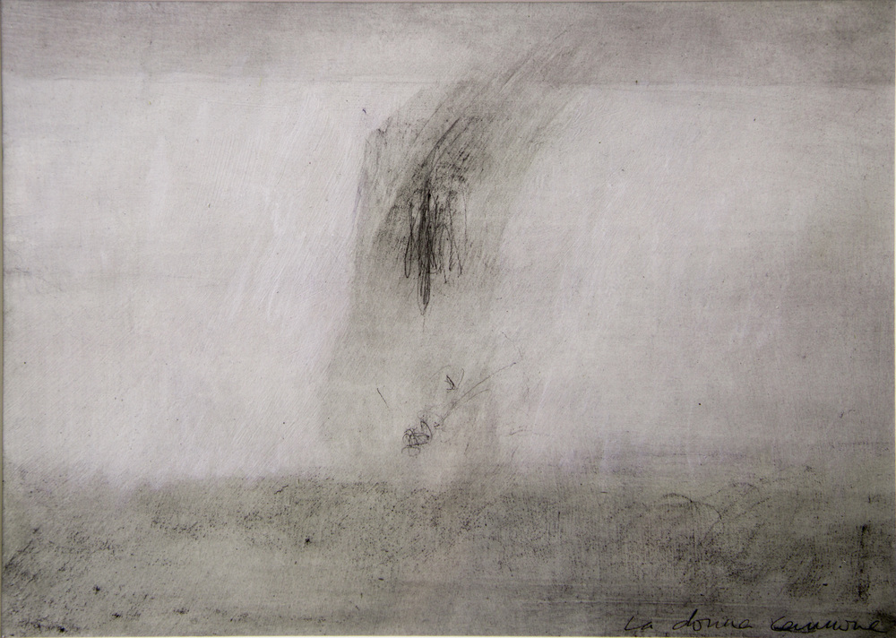 LA DONNA CANNONE, 205 x 290 mm,    pencil and oil wash on prepared paper  , 2013
