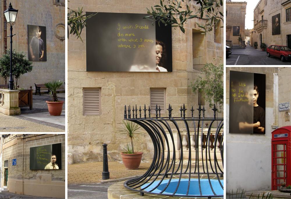 NIXTIEQ,    inkjet prints on canvas  , site specific installation, historic centre, Attard, Malta, 2002-3