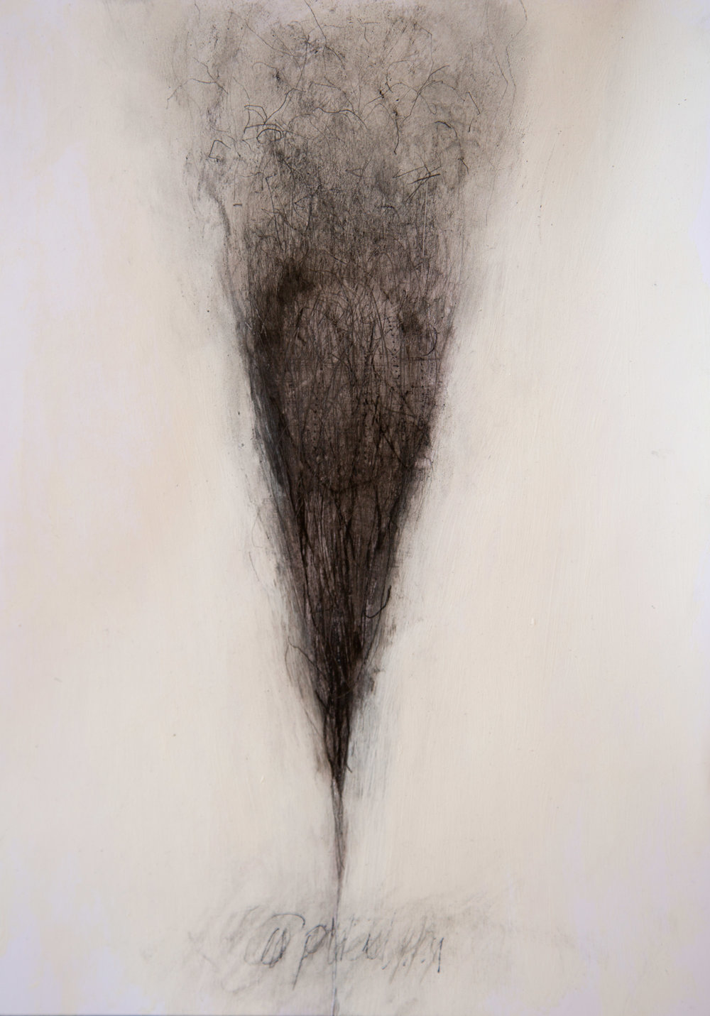 OPHELIA FADING, 297 x 210 mm,    pencil, charcoal and oil wash on prepared paper  , 2016.