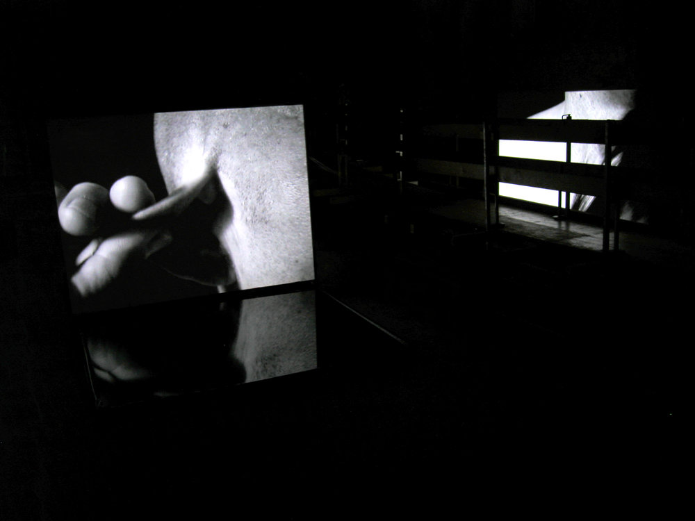 BODY OF GLASS - AFTER CARAVAGGIO,   dual video and stereo audio and water installation,   the Johanniterkirche, Feldkirch, Austria, 2006.   Curator: Eva Jakob