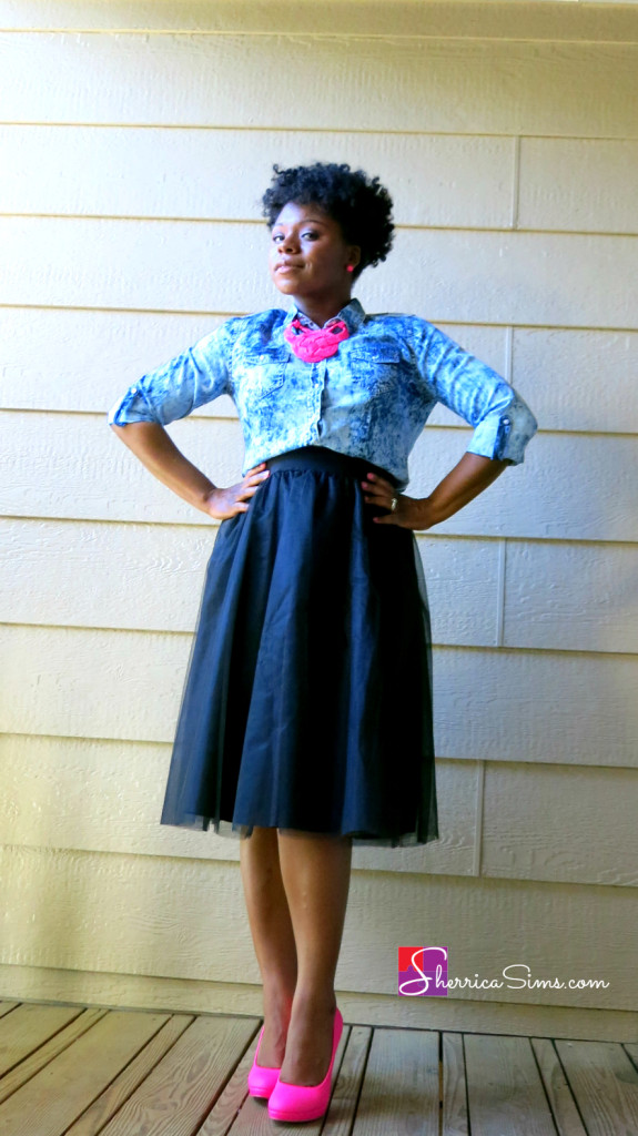 Tulle Skirt and Acid Wash SherricaSims.com