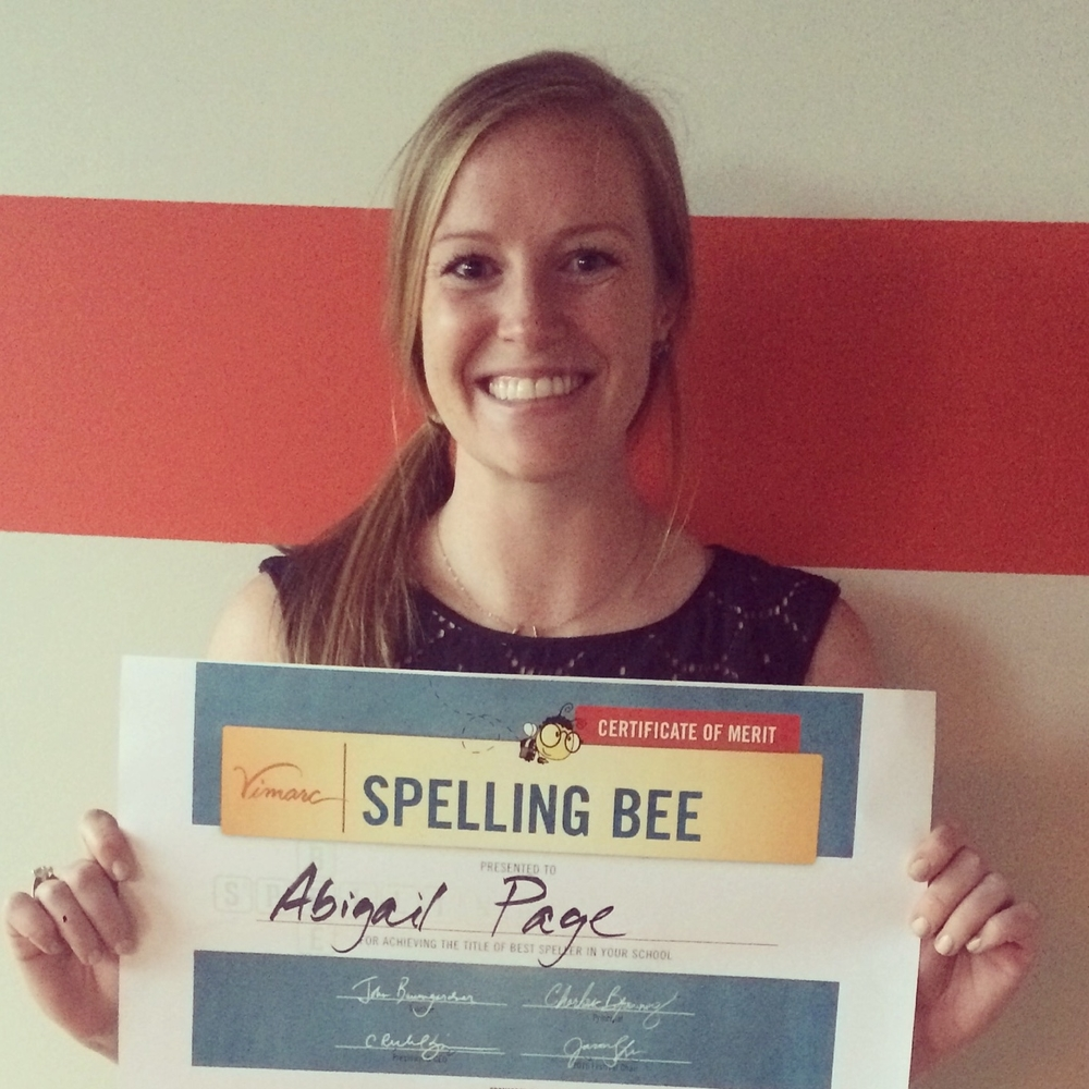 Abigail, our 1st Spelling Bee Champ