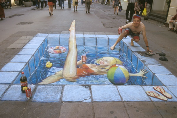 Swimming-Pool In The High Street  by Julian Beever