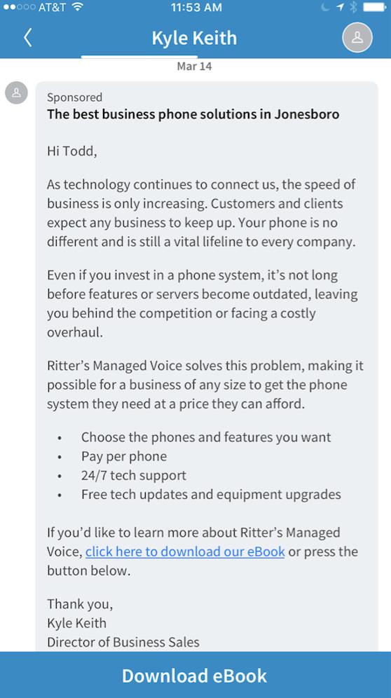 LinkedIn InMail Ad