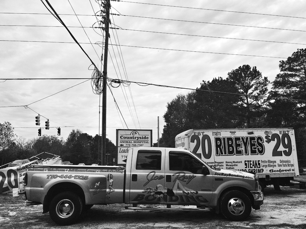 Mobile advertising and meats at the corner of Highway 138 and Youth Jersey Road