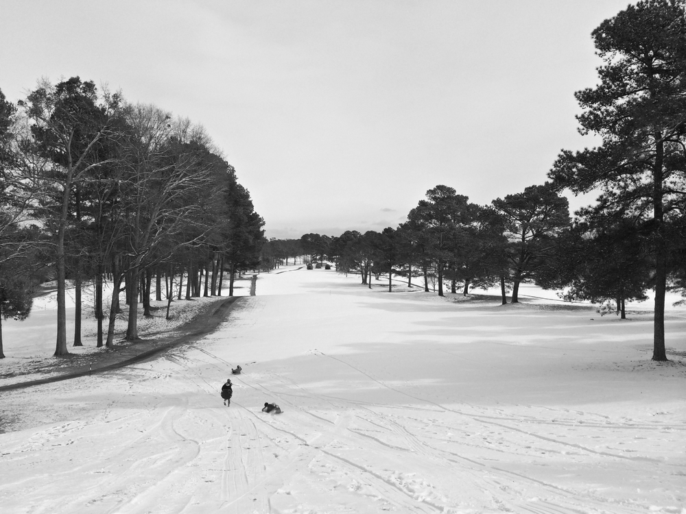 Sledding fairways at the Monroe Golf and Country Club