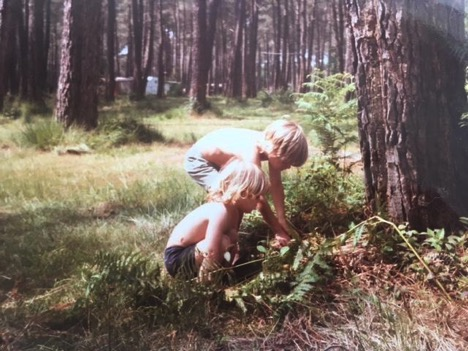 Caroline and her brother search for Chanterelle mushrooms while camping in       Biscarosse