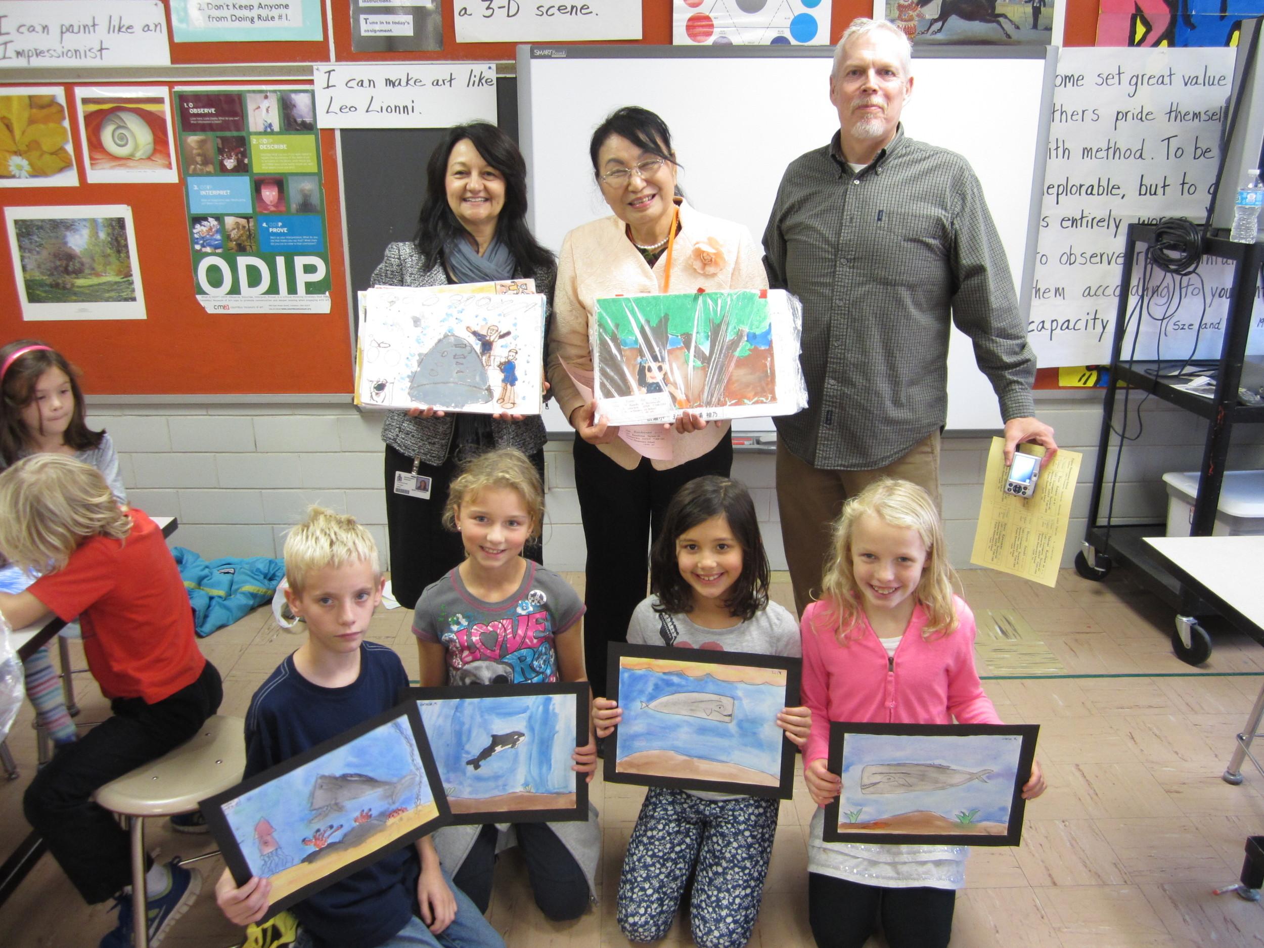 Exchange of children's artwork between Sayama children and students at Evening Street Elementary School