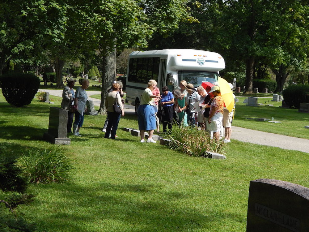 The Griswold Center bus began its visit to Walnut Grove Cemetery near the graves of Griswold relatives.-2 copy