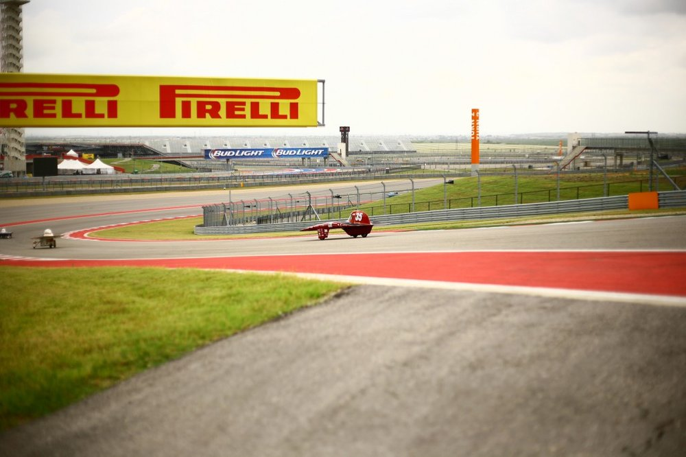 Centaurus III comes up on another car racing on the Formula 1 Circuit of the Americas Track.