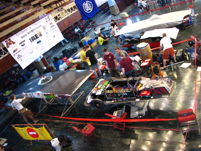 The whole team got up bright and early to finish preparing the car.