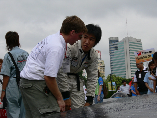 Brandon and Kei Nomura, the driver for Ashiya University, talk about the car.