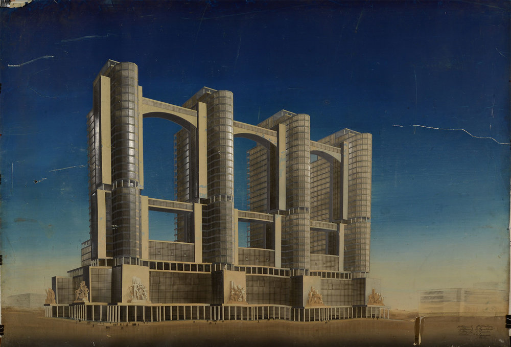 """""""Commissariat of Heavy Industry"""" (1934-36) by the Vesnin brothers This design was one of more than 100 entries in a notorious competition to design Stalin's Narkomtiazhprom, or Commissariat of Heavy Industry. The building was intended to occupy a huge site directly opposite the Lenin Mausoleum on Red Square, symbolising the centrality of industry to Stalinism and requiring the razing of the entire historic district of Kitay-Gorod. The Commissariat was never built, leading some to speculate that the competition was merely a way of distinguishing persistent modernists such as the Vesnin brothers – note the prevalence of glass and the futuristic skywalks in this plan – from loyal adherents to the new classicism."""