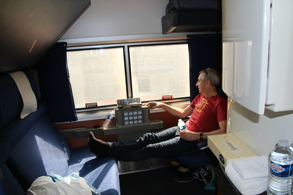 Our bedroom on the train - plenty roomy and big window!