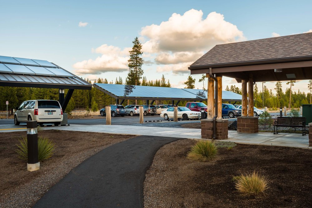 SOlar PHOtovoltaic and solar thermal panels on Car Ports at Little DeSCHUTES Lodge