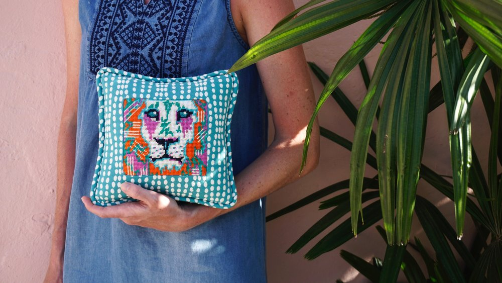 Our Leo the Lion canvas! Did you know that Brooke stitched this design in ONE day?? Our designs are not only colorful and wild, but perfect for new stitchers! He makes for a great first project or to create as a gift!