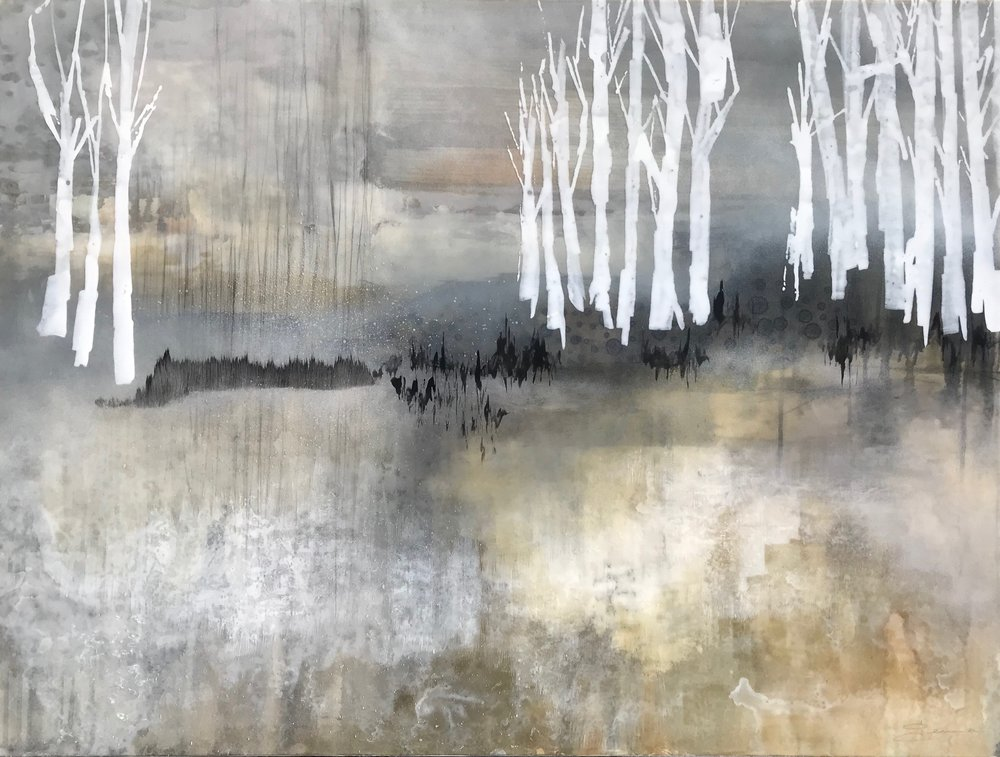 "Roam • Mixed Media on Canvas • 48"" x 36"""