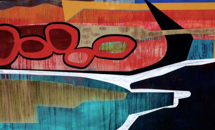 "Puget Sound • Mixed Media on Wood Panel • 84"" x 48"""
