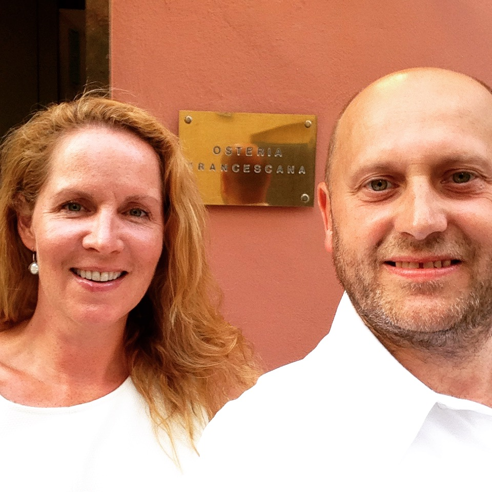 "Modena, Italy, 2015—Joanne and Chef Ted conduct hands-on research for the for True Foodies only platform at Osteria Francescana (#1 on San Pellegrino's 2018 ""The World's 50 Best"" restaurant list)."
