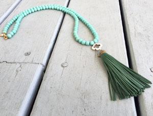 Sea Green Tassel Necklace