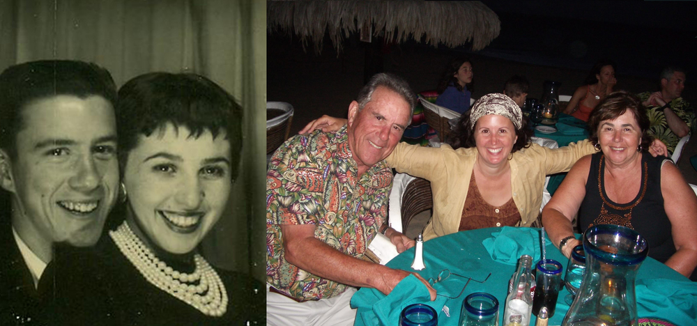 Bob and Diane Martin in 1958, and with Gina in 2006.