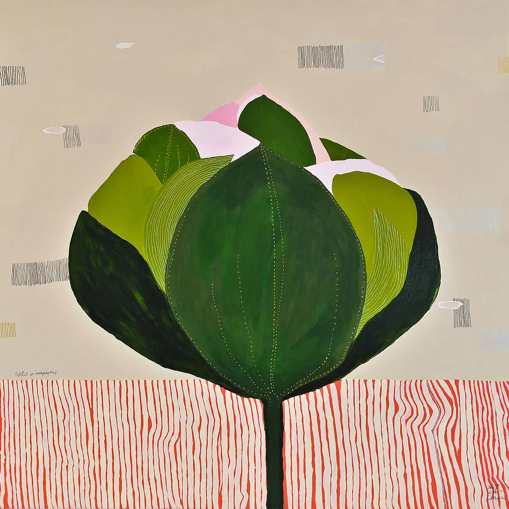 """i. Tulipus (sp.) Margarettas. acrylic, pencil, pastel. 30"""" X 30"""""""