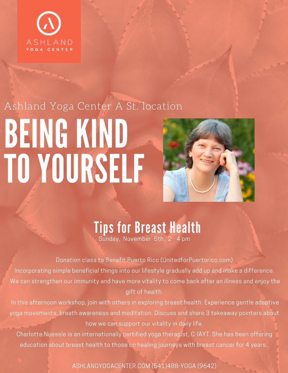 Unwind, breathe, meditate, take away support to be kinder to yourself. By donation, everyone welcome!