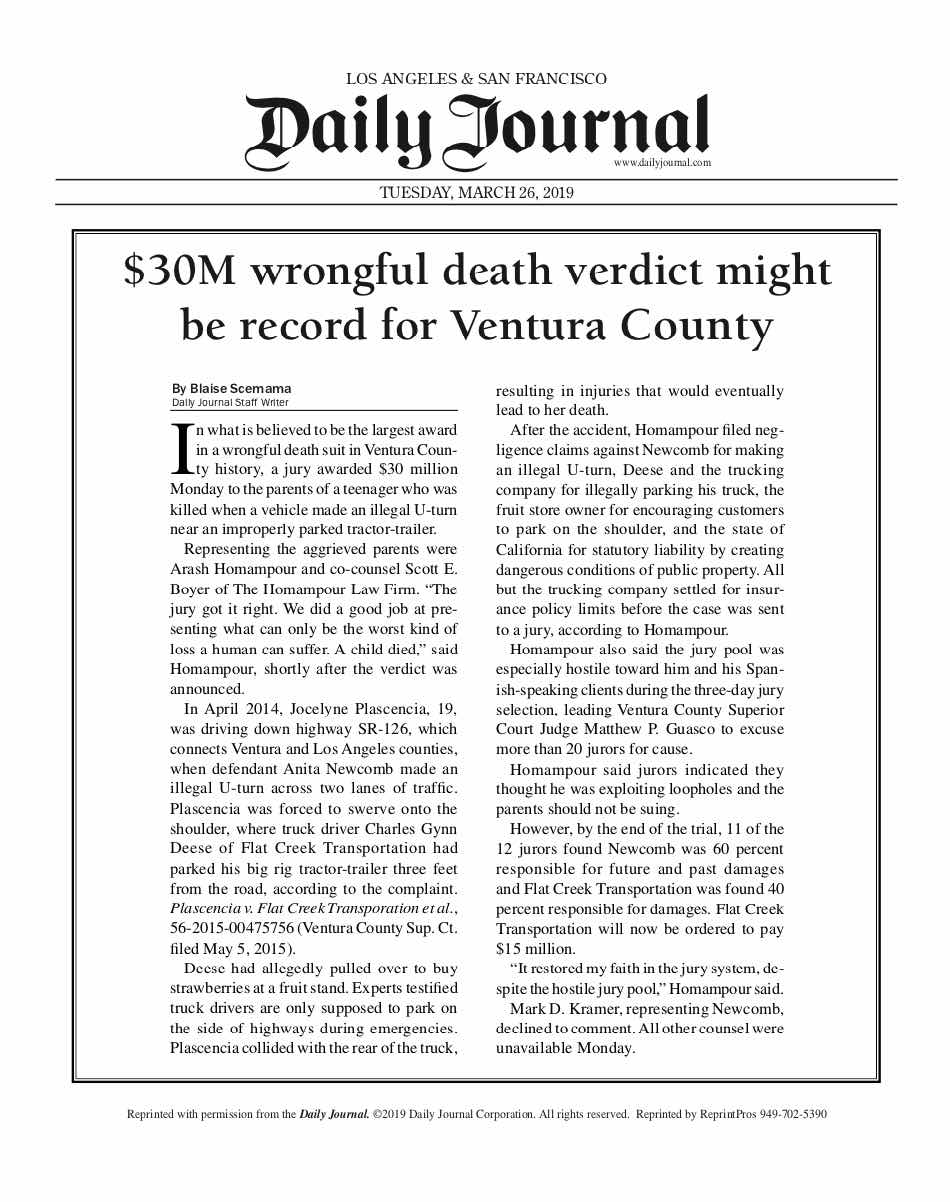 Daily journal write up of Record setting $30 million verdict for wrongful death.