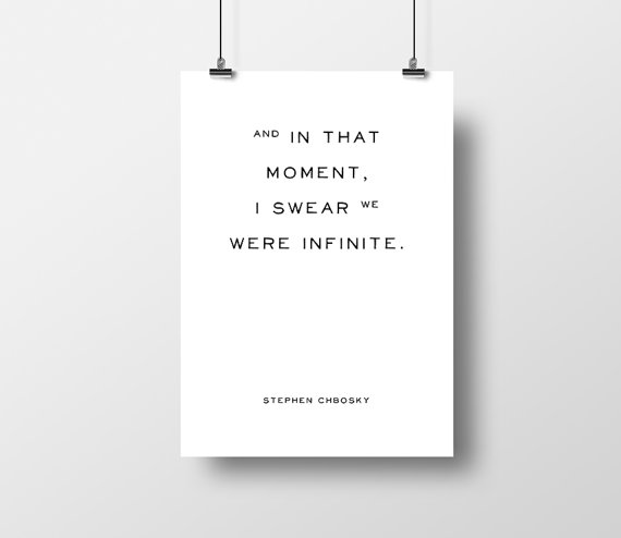 The Perks of Being a Wallflower  quote—Stephen Chbosky—The Bookworm Prints on Etsy