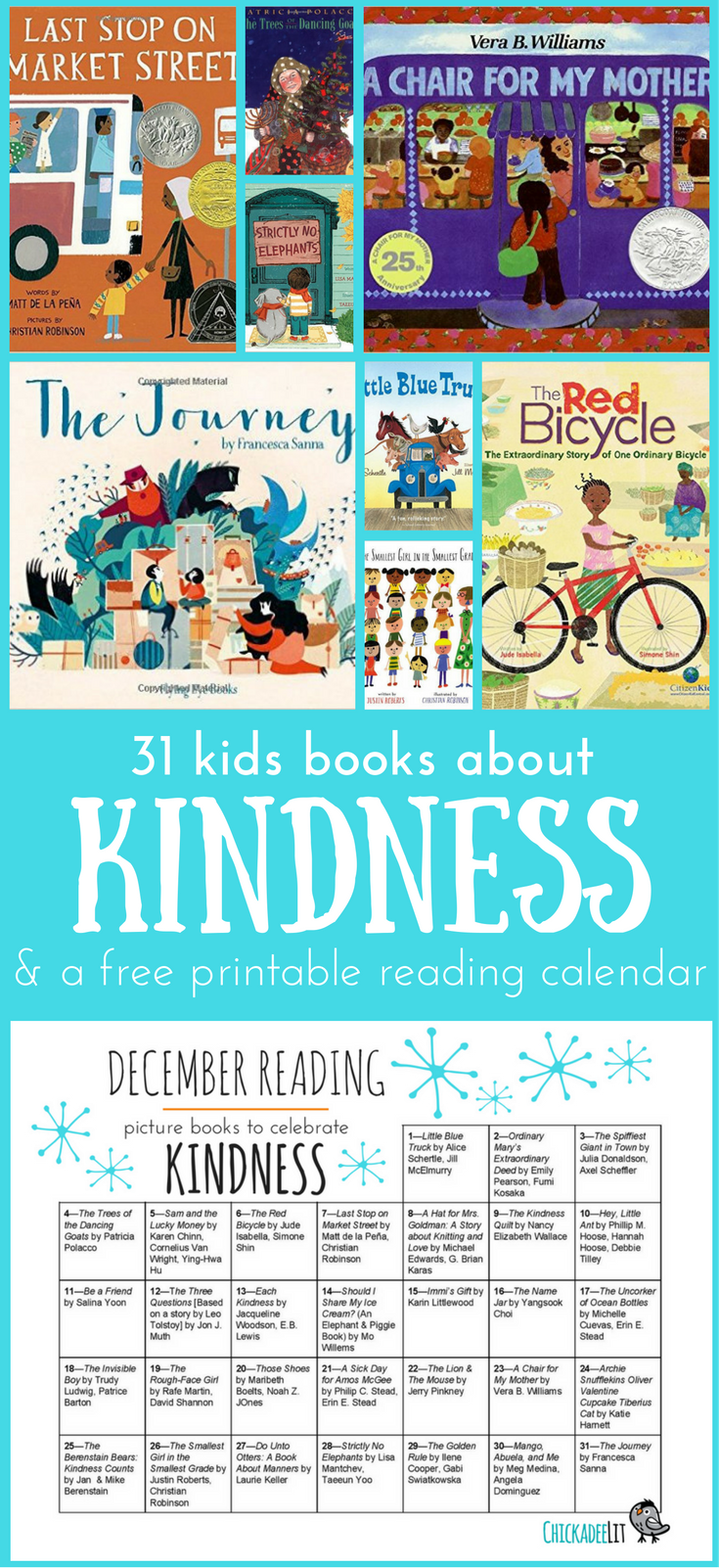 Kids Kindness Calendar : Celebrate kindness family reading calendar — chickadee lit