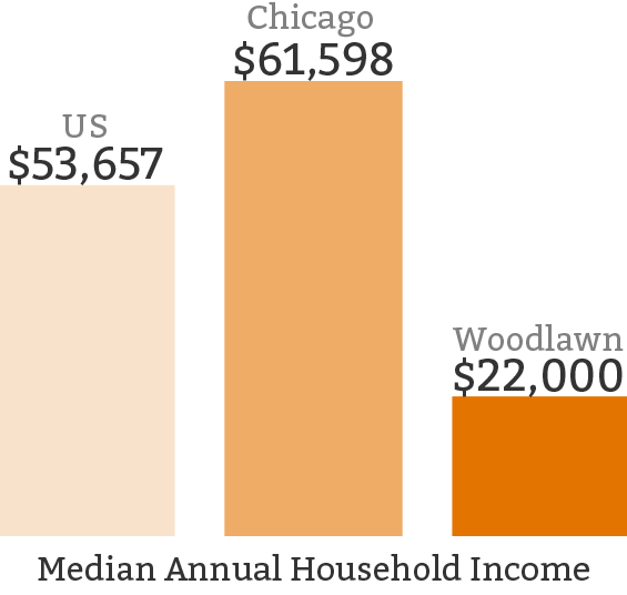 The median annual household income is less than half of the national median and almost a third of Chicago's.