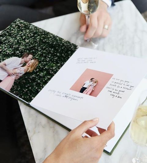 I get a lot of questions from brides looking for something unique but practical as a guest book for their wedding day, and a photo book has been my go-to forever! . My two favorite ways to do this are: a book of all the sweet photos of you & your boo (I ❤️ @artifactuprising), or another fun twist on it is to find a nice book of a shared interest (some ideas: cooking, your home city, a hobby).