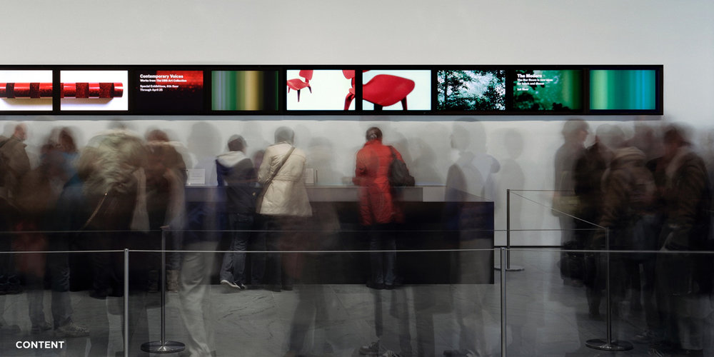 MoMA Lobby - How does one introduce a digital fingerprint of a museum's collection in a contextual, elevated and relevant manner, while also welcoming and inspiring 9000 visitors a day?