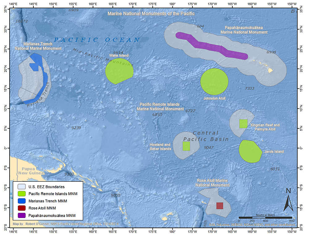 This map is out-of date since President Obama's latest proclamations. The U.S. EEZ land (gray) that surrounds the Papāhānaumokuākea Marine Nation Monument (purple) and Pacific Remote Islands Marine National Monument (fuchsia) on this map are now added to the respective monuments. Now about the Rose Atoll and Marianas Trench marine national monuments…. Map: National Oceanic and Atmospheric Administration.