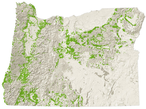 4,668,000 acres of Oregon is private timberland.  Source: Oregon Forest Resources Institute.