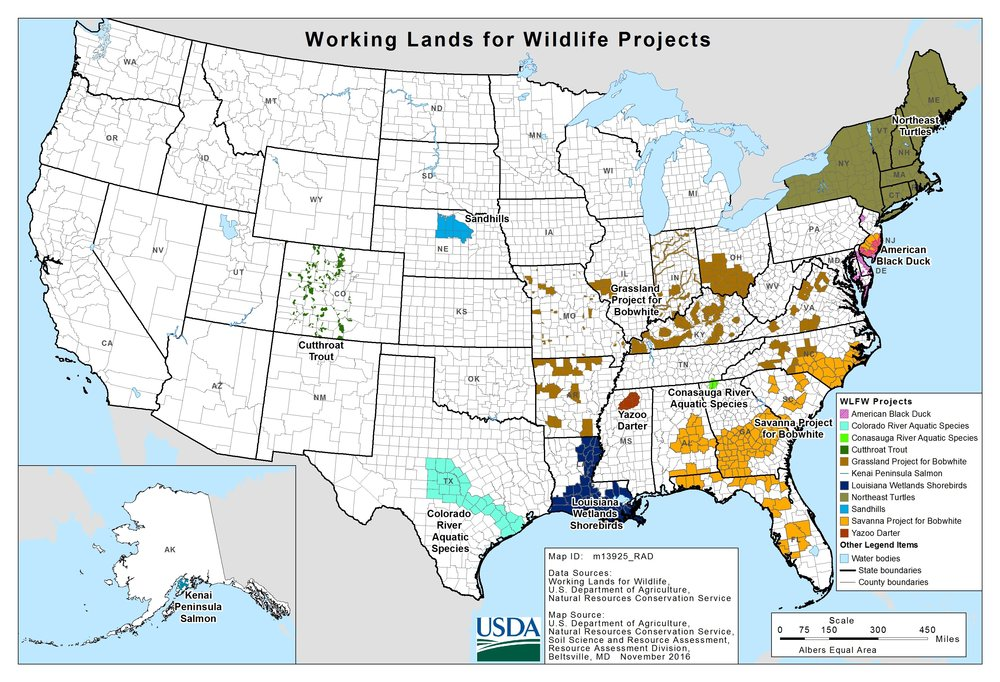 "Map 2. A ""working landscape"" is one where the land is worked a bit less to allow wildlife to persist. A national wildlife refuge is land where wildlife can thrive. Source: USDA NRCS."