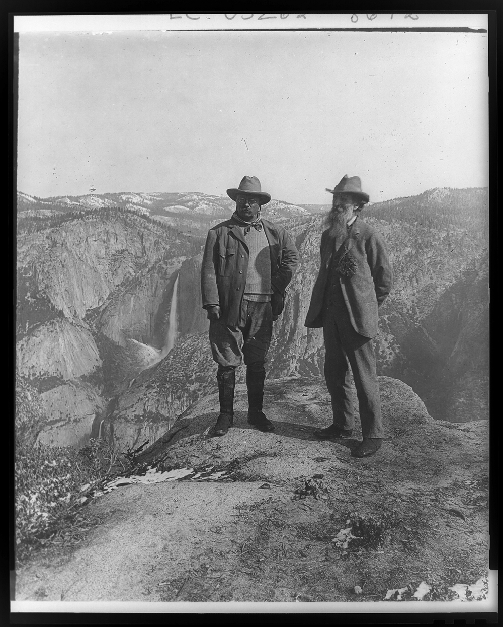 In 1903, President Theodore Roosevelt (left) toured some of the Sierra Nevada Range (here in Yosemite National Park) and was hosted by Sierra Club founder John Muir.  Photo: National Park Service.