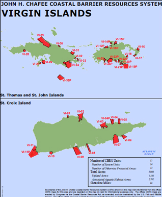 Coastal Barrier Resources System units in the U.S. Virgin Islands.  Source: U.S. Fish and Wildlife Service