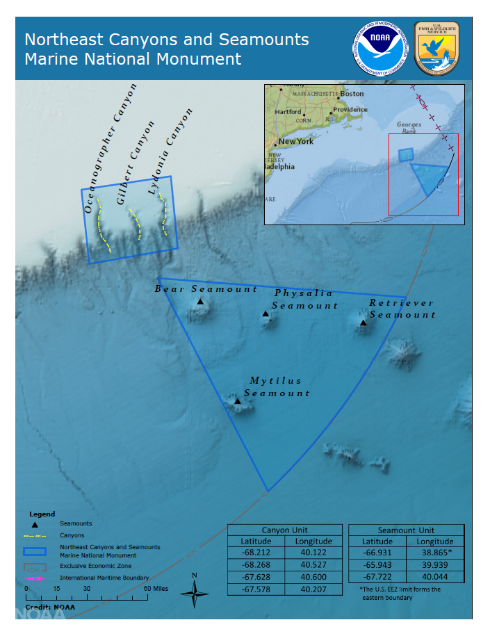 Notice the canyons and seamounts just outside the marine national monument boundary that were excluded.  Source: National Oceanic and Atmospheric Administration