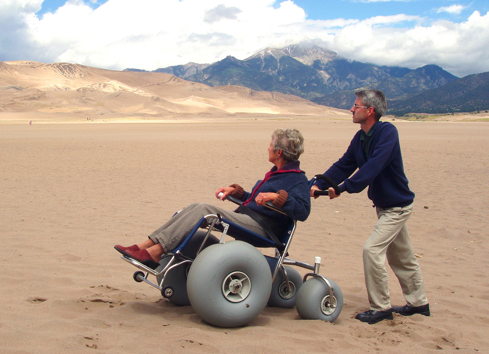 The Great Sand Dunes Wilderness in the Great Sand Dunes National Park and Preserve, Colorado One can borrow this tricked-out wheelchair from the National Park Service.  Source: National Park Service via www.wilderness.net
