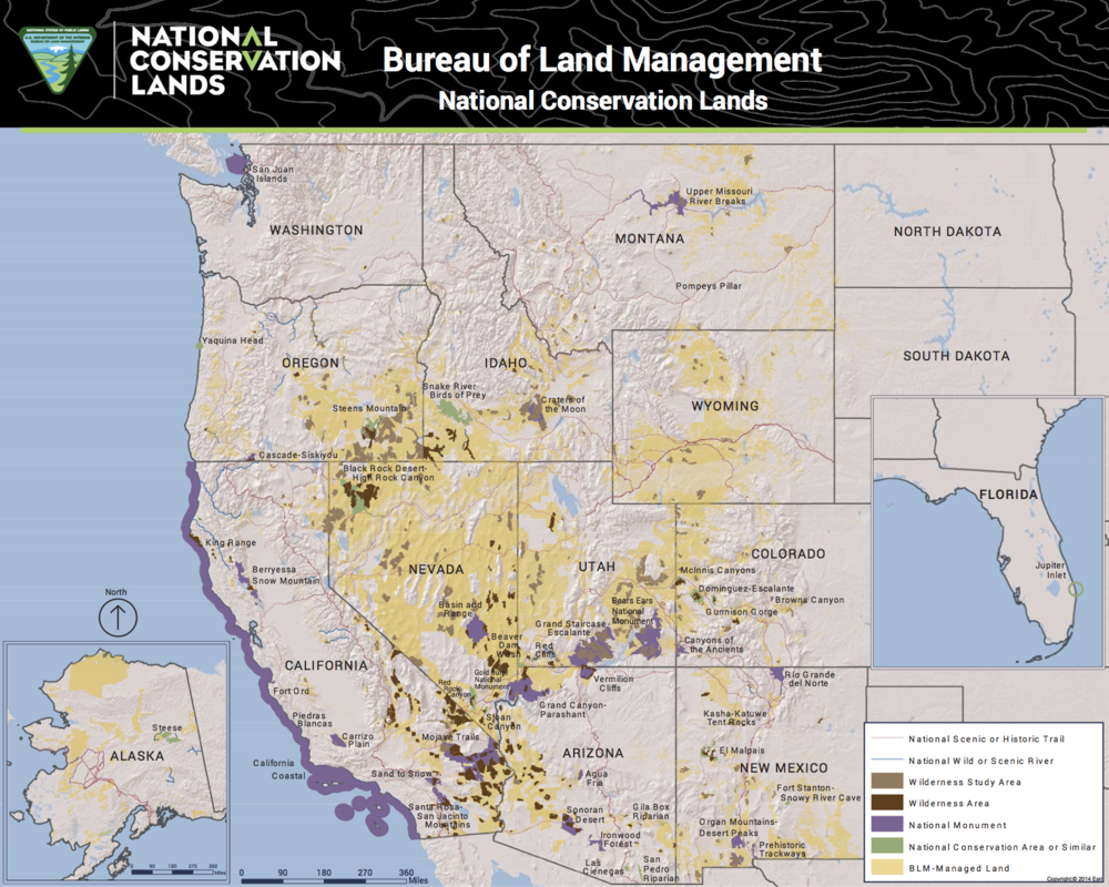 "I get paid to be paranoid, so I noticed that this map (click on ""BLM"" after ""Source:"" at end to get a much more detailed version), done in August 2017 does  not  show the expanded Cascade-Siskiyou National Monument along the Oregon-California border. It does show other Obaman BLM national monuments, so perhaps it is just an innocent bureaucratic oversight.  Source:  BLM"