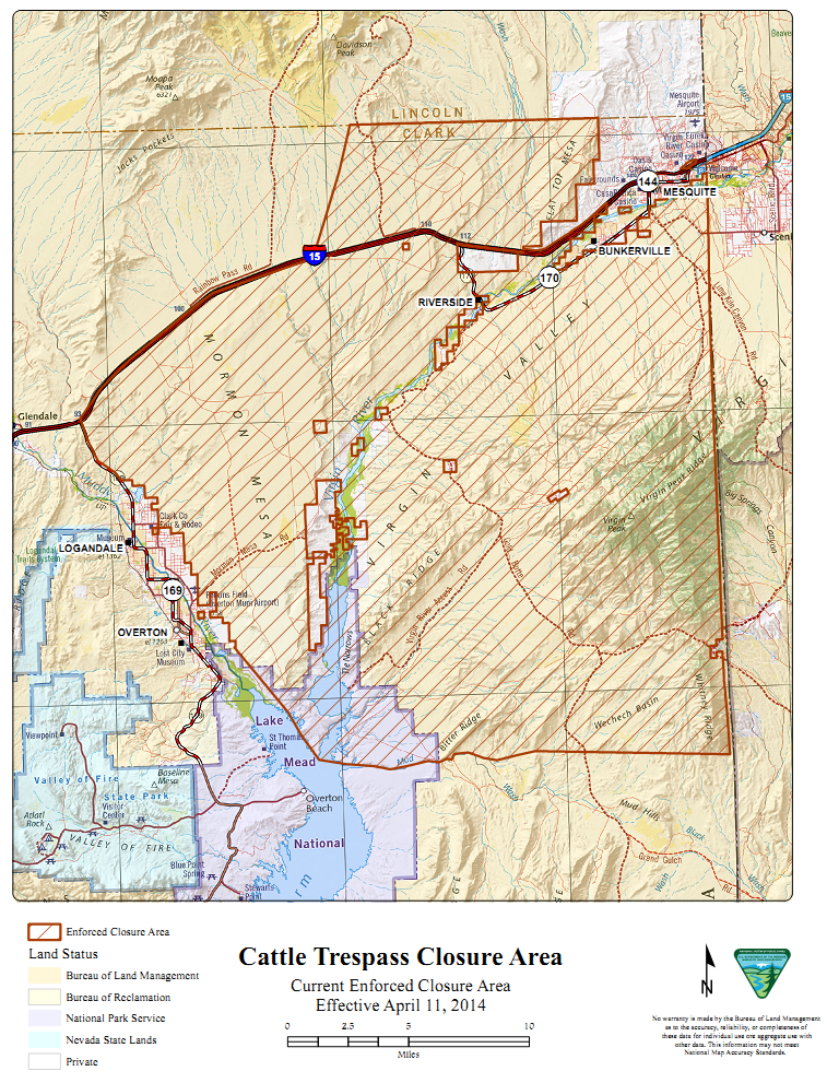 Bundy's trespass cattle defiled not only Bureau of Land Management holdings but also the National Park Service's Lake Mead National Recreation Area.  Source: Bureau of Land Management.