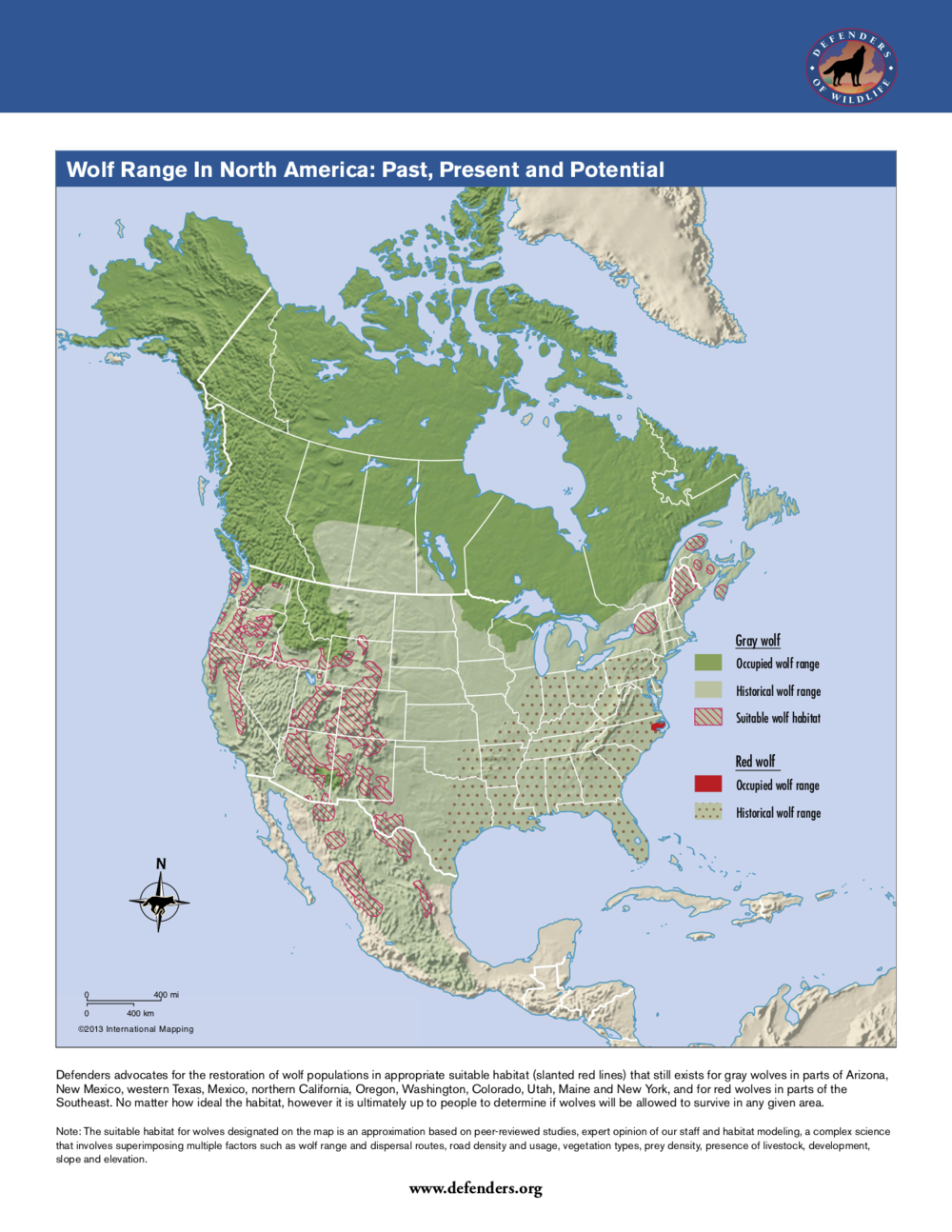 Map 5.  There seems to be an elevational and/or forested bias regarding what is considered suitable habitat in which to restore wolves. Remoteness and a lack of people is also important. As the map shows, wolves were present historically in deserts and grasslands.  Source:  Defenders of Wildlife