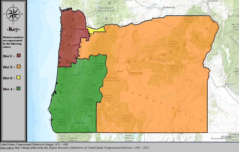 - Map 2. Oregon's four congressional districts after the 1970 census. The site of Elk Creek Dam was safely in Oregon's 4th district, represented by a Democrat. Source: Wikipedia