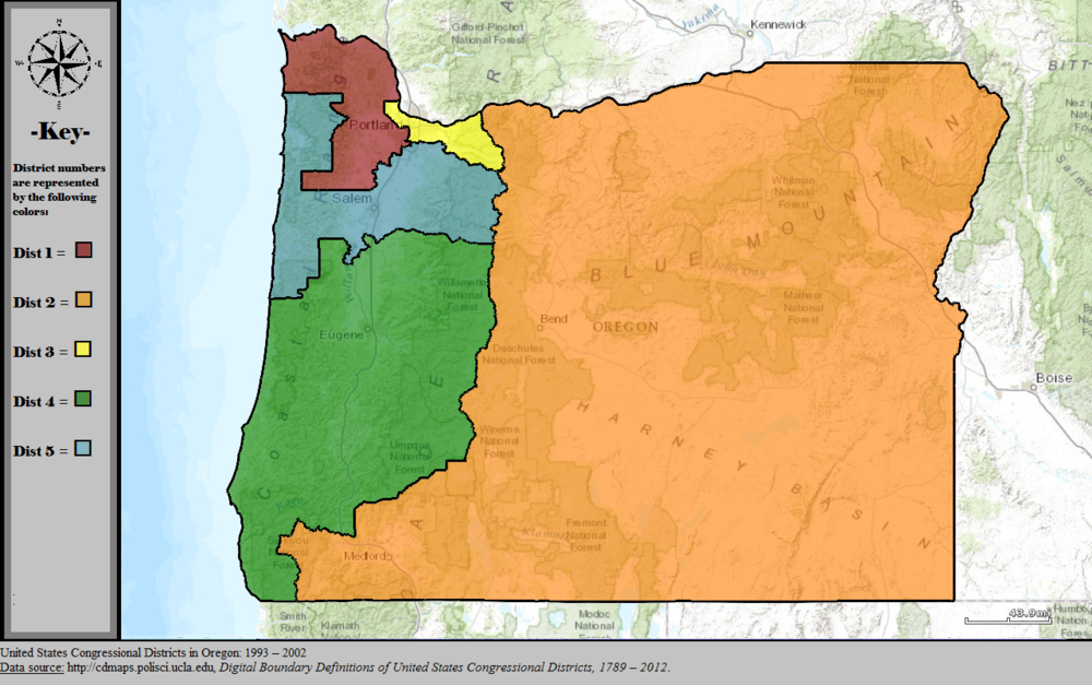 - Map 4. Oregon's congressional districts after the 1990 census. Relatively minor tweaking was done as the number of districts remained the same. Source: Wikipedia