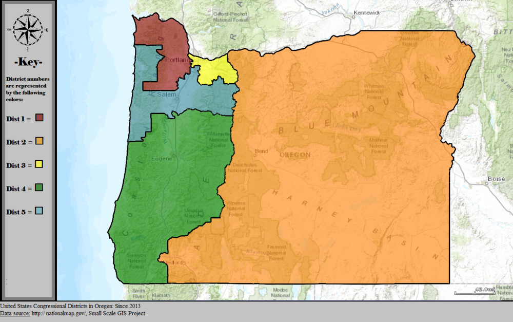 - Map 6. Oregon's congressional districts after the 2010 census. The Oregon 2nd encompasses ~73 percent of Oregon's geographic area and an even larger portion of its federal public lands. Source: Wikipedia