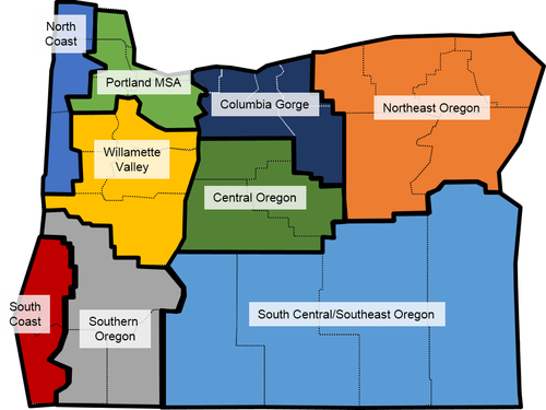 """Map 3. So-called """"e conomic regions"""" identified by the Oregon Office of Economic Analysis, which are more accurately """"geographic regions."""" If you take a closer look, you'll see that not all the counties in """"rural"""" Oregon are actually rural. Source: Oregon Office of Economic Analysis"""