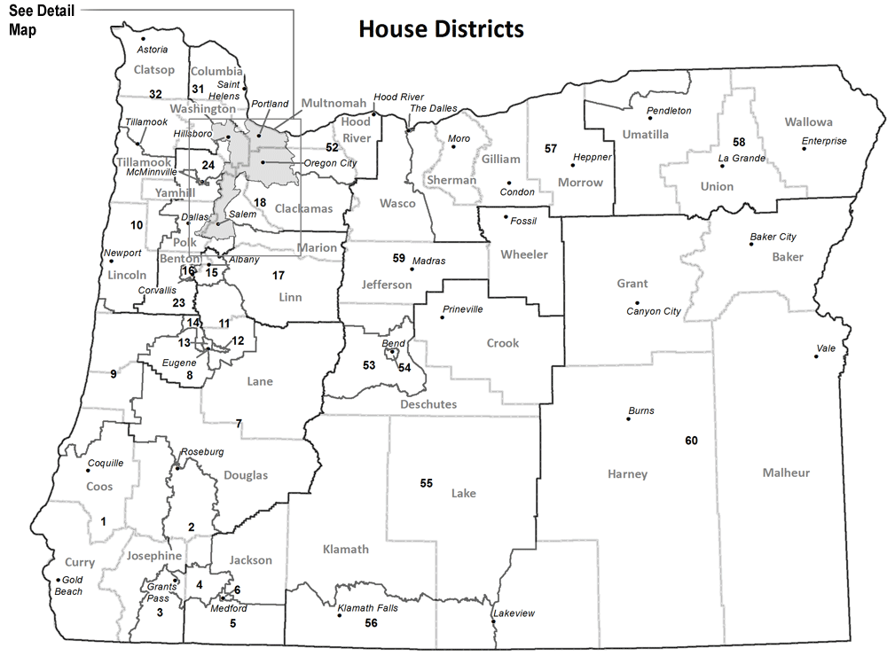 Map 1.  Oregon House of Representative districts. When the districts were drawn after the 2010 census, each had 1/60th of the state's population. Notice the gray mass in the lower Willamette Valley, which means there are so many districts they cannot be mapped at a statewide scale.  Source:  Oregon Secretary of State
