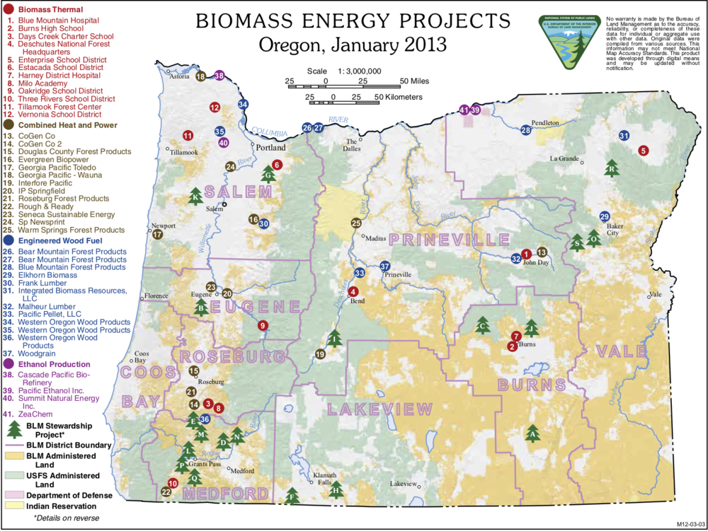 Map 1. The plague of biomass energy projects just in Oregon . Source: Bureau of Land Management .